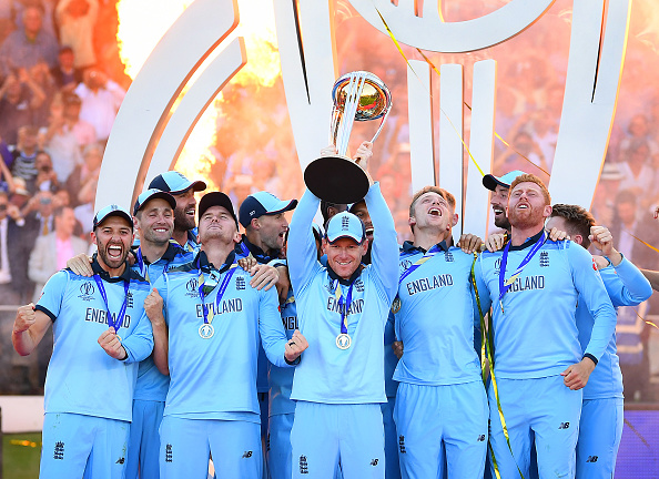 The England ODI Squad celebrate after winning the 2019 Cricket World Cup