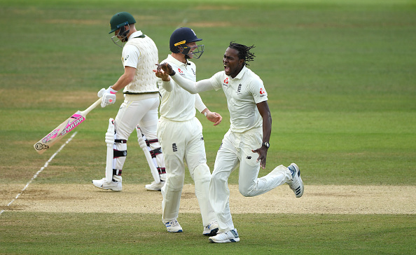 Jofra Archer celebrates the wicket of Marnus Labuschagne at Lords in the 2019 Ashes Series