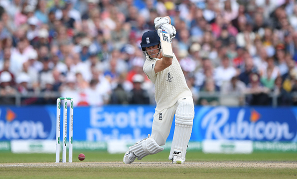 Joe Denly bats against Australia in the fourth test match of the 2019 Ashes at Old Trafford for England Cricket
