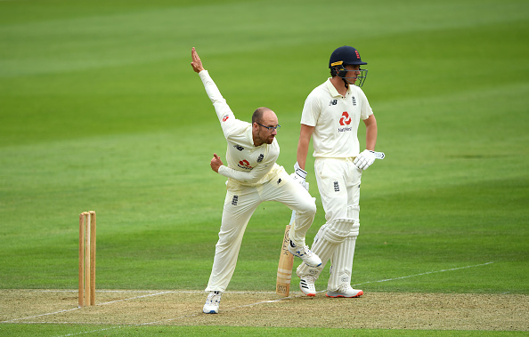 Jack Leach bowls in the practice game between Team Stokes and Team Buttler
