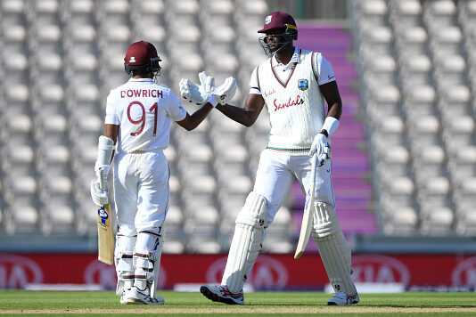 England v Windies Day 3 Shane Dowrich and Jason Holder bat against England at the Ageas Bowl in Southampton 2020