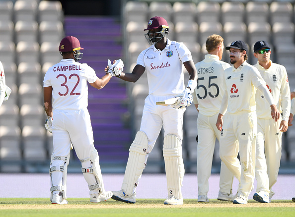 Eng v WI at the Ageas Bowl. Jason Holder and Jermaine Blackwood took the West Indies to victory on day 5 over england test cricket