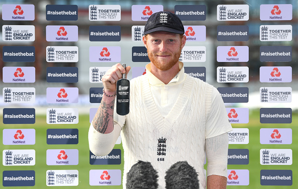 Ben Stokes celebrates winning man of the match in the second test match vs West Indies at Old Trafford 2020