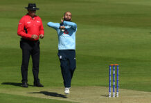 Moeen Ali bowling in the intra-group friendly between England's ODI Squad