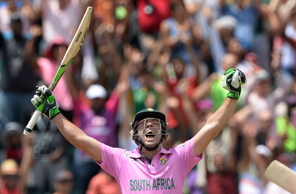 AB De Villiers celebrates scoring the fastest ODI century ever against the West Indies of just 31 balls at Johannesburg 2015