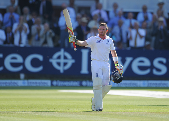 Ian Bell Cricketer celebrates scoring a century at Lords in the 2013 Ashes.