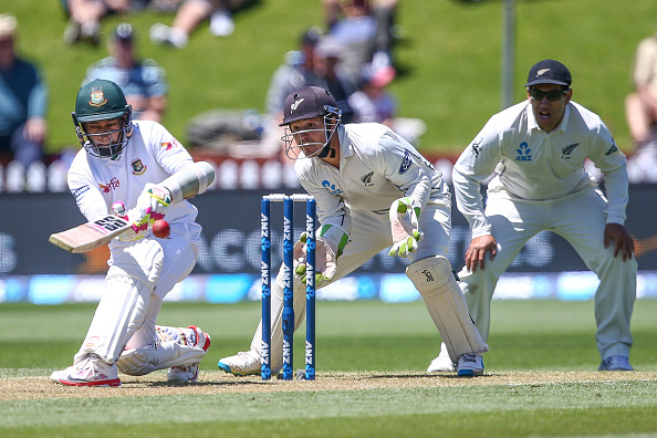 Mushfiqur Rahim bats against New Zealand in a test match 2017