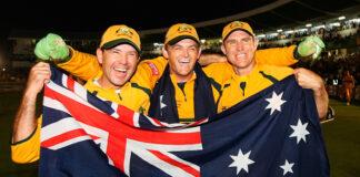 Australian Batsmen Ricky Ponting Adam Gilchrist and Matthew Hayden celebrate winning the ICC 2007 Cricket World Cup