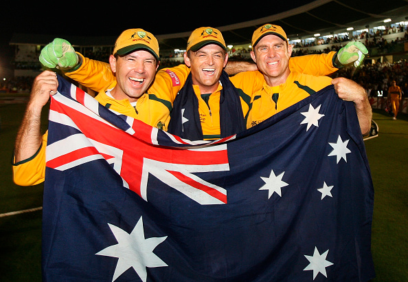 Australian Batsmen Ricky Ponting Adam Gilchrist and Matthew Hayden celebrate winning the ICC 2007 Cricket World Cup