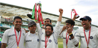 Indian Cricket Team celebrate winning the test series in England 1-0 in 2007. Sachin Tendular, Rahul Dravid, Anil Kumble and VVS Laxman.