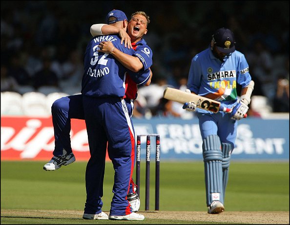 Darren Gough celebrates the wicket of Harbhajan Singh, England vs India ODI Cricket