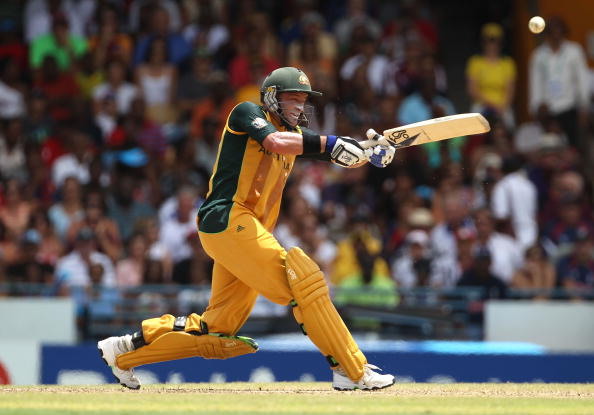 Michael Hussey plays a shot during the 2010 World Cup T20 final versus England. 2020 World T20.