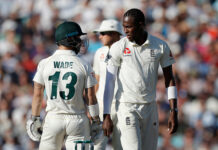 Jofra Archer and Matthew Wade stare at each other during the 2019 Ashes Series