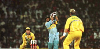 Sachin Tendulkar scored a superb 90 vs Australia at the 1996 Cricket World Cup