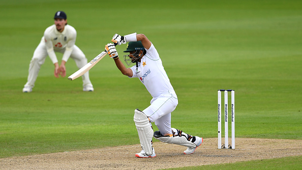 Babar Azam bats during England v Pakistan day one at Old Trafford