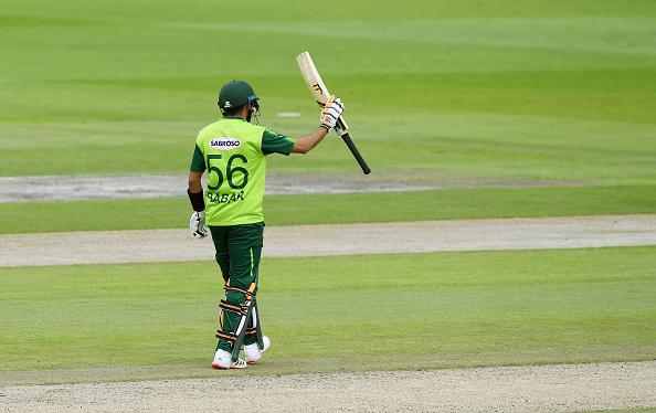 Babar Azam scores a half-century for Pakistan v England.