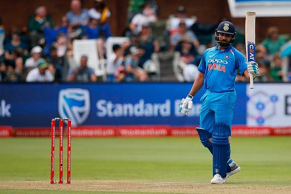 Rohit Sharma celebrates scoring a century vs South Africa in an ODI in 2018