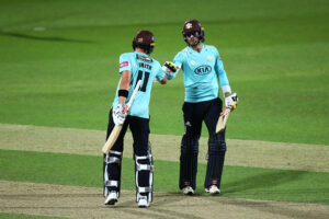Ben Foakes and Jamie Smith bat for Surrey against Middlesex in the Vitality T20 Blast