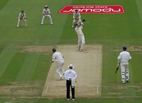 Kevin Pietersen's iconic shot hitting Glenn Mcgrath for a six at Lords