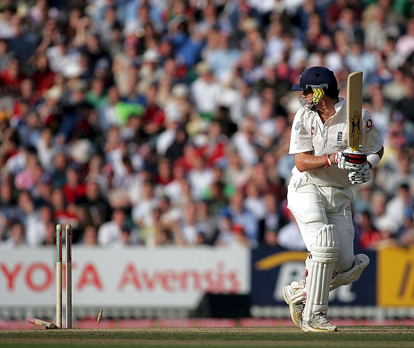 Kevin Pietersen was eventually bowled by Mcgrath after scoring his 158