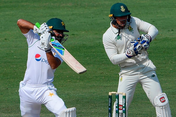 Fawad Alam batting versus South Africa at Karach 2021.