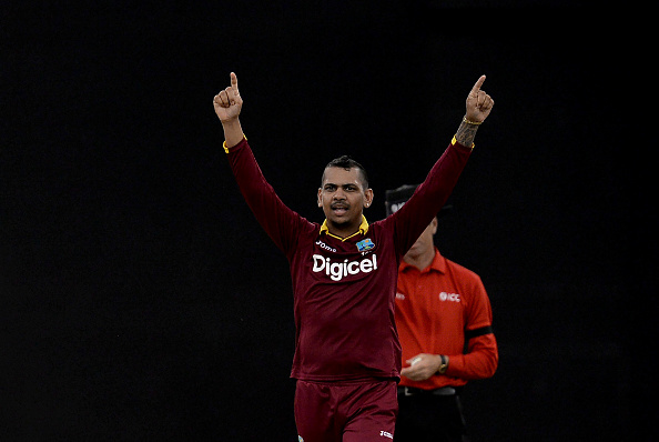 Sunil Narine celebrates picking up a wicket for the West Indies in ODI cricket.