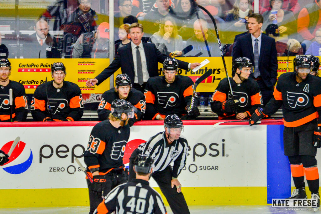 Philadelphia Flyers coach Dave Hakstol questions a call in a game against  the New Jersey Devils on Oct. 20 f5f4ce4ef