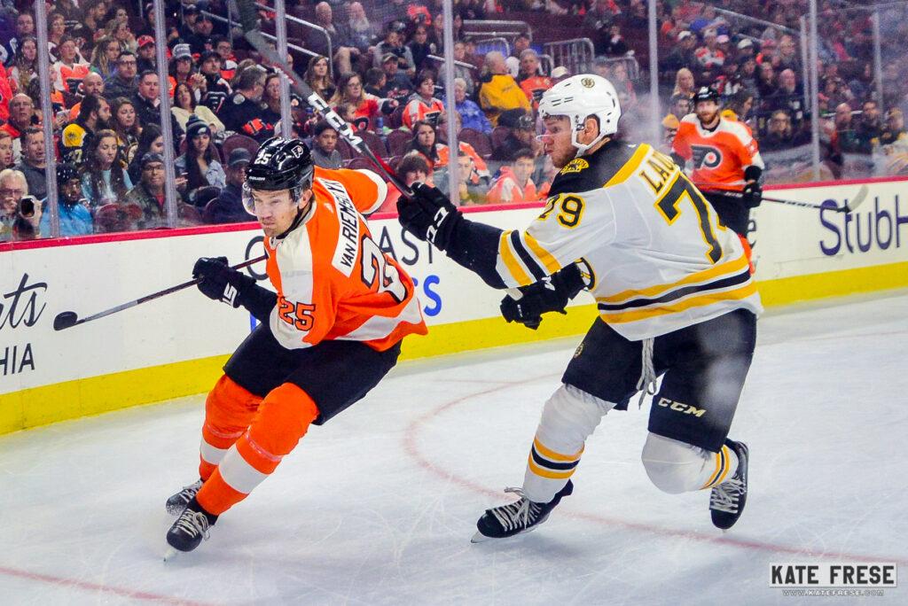 2a4db0103 Philadelphia Flyers forward James van Riesmdyk skates against Boston Bruins  Jeremy Lauzon in a pre-season game on Sept. 24. (Photo Credit  Kate Frese)