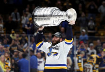 Pat Maroon lifts the Stanley Cup.