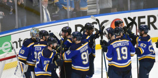 Jaden Schwartz, Blues celebrate Game 6 win
