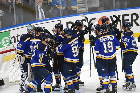 Jaden Schwartz, Blues celebrate Game 6 win