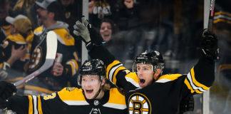 Charlie Coyle celebrates a goal.