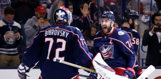 Sergei Bobrovsky and Nick Foligno celebrate a Game 3 win.