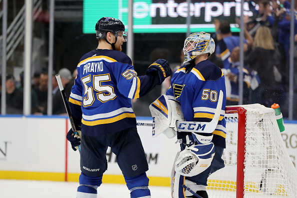 Blues celebrate 2019 Western Conference Final Game 4 win.
