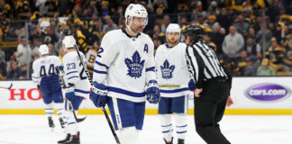 Headline of the Toronto Maple Leafs rumours, Patrick Marleau skates towards a faceoff during Game Seven.