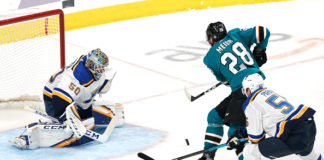 Star of the San Jose Sharks offence, Timo Meier, scores a dazzling goal.