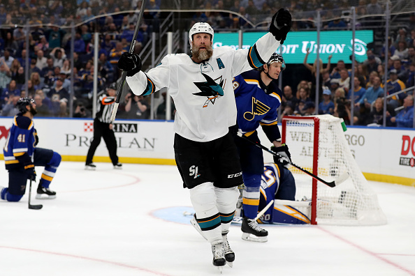 Joe Thornton celebrates a goal scored in the Western Conference Final.