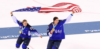 Women's Professional Hockey players Hilary Knight and Kendall Coyne.