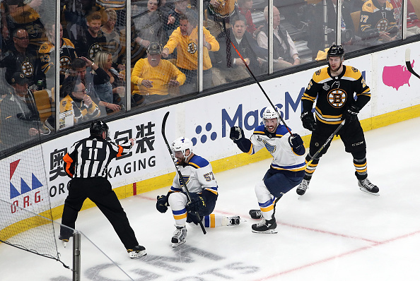 38857368050 BOSTON, MASSACHUSETTS – JUNE 06: David Perron #57 of the St. Louis Blues  celebrates his third period goal against the Boston Bruins in Game Five of  the 2019 ...