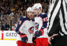Top NHL Free Agents Matt Duchene and Artemi Panarin talk mid-game.