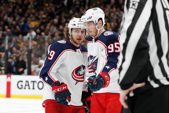 Top NHL Free Agents Matt Duchene and Artemi Panarin talk mid-game.