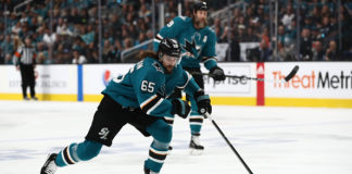 Erik Karlsson carries the puck in Game 5 of the Western Conference Final.