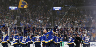 The St. Louis Blues offence-minded roster celebrates after 4-2 win in Game 4.