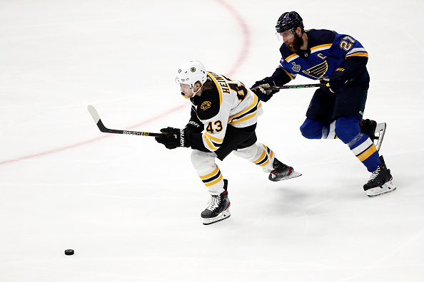 Danton Heinen skates up the ice during the 2019 Stanley Cup Final.