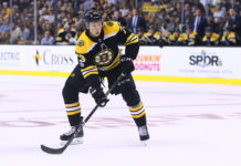 Charlie McAvoy waits for a pass.