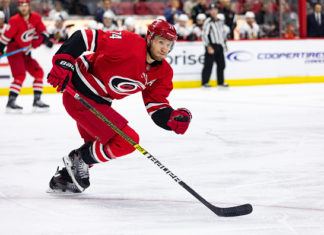 Our fantasy hockey sleeper pick from the Carolina Hurricanes, Jaccob Slavin, skates up ice.