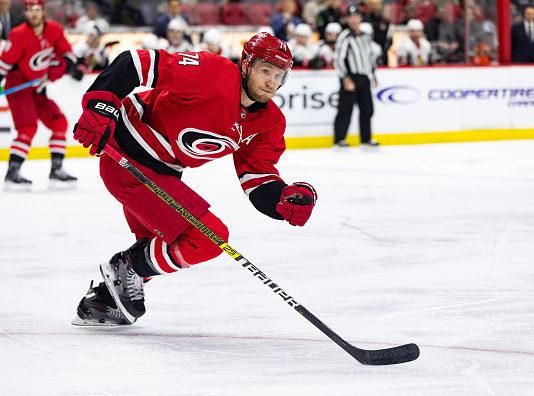Our fantasy hockey sleeper pick from the Carolina Hurricanes, Jaccob Slavin, skates up ice.