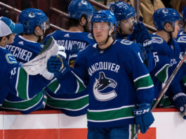Headliner of the NHL Rumor pool of late, Brock Boeser celebrates a goal.