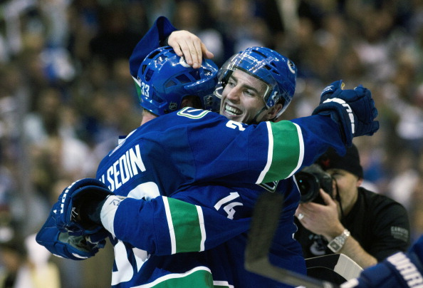 Alex Burrows celebrates a win in the Vancouver Canucks biggest game in franchise history.