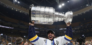 Robby Fabbri lifts the Stanley Cup.